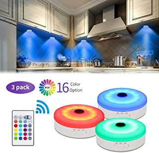 Bason Puck Lights with Remote,Under Cabinet led Lighting,RGB Wireless Rechargeable Light for Closet,Display case,3 Pack