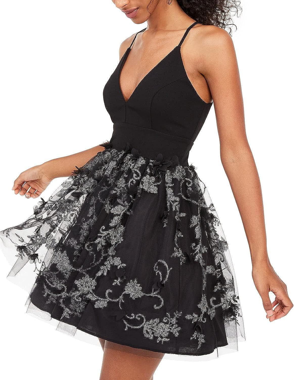 Trixxi Juniors' Glitter Petals Fit & Flare Dress Black Size 3