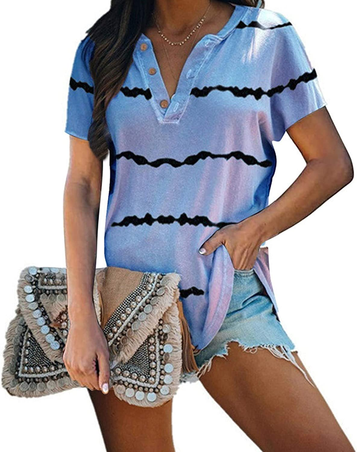 Aukbays Womens Tops Striped Short Sleeve T-Shirts Button up Summer Round Neck Casual Pullover Tees Blouses Shirts Tunic