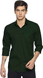 LEVIZO 100% Cotton Plain Solid Casual Classic Fit Shirt Full Sleeves for Men