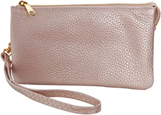 Humble Chic Vegan Leather Wristlet Wallet Clutch Bag - Small Phone Purse Handbag for Women, Includes Card Slots and Detachable Wrist Strap, Champagne Gold, Metallic
