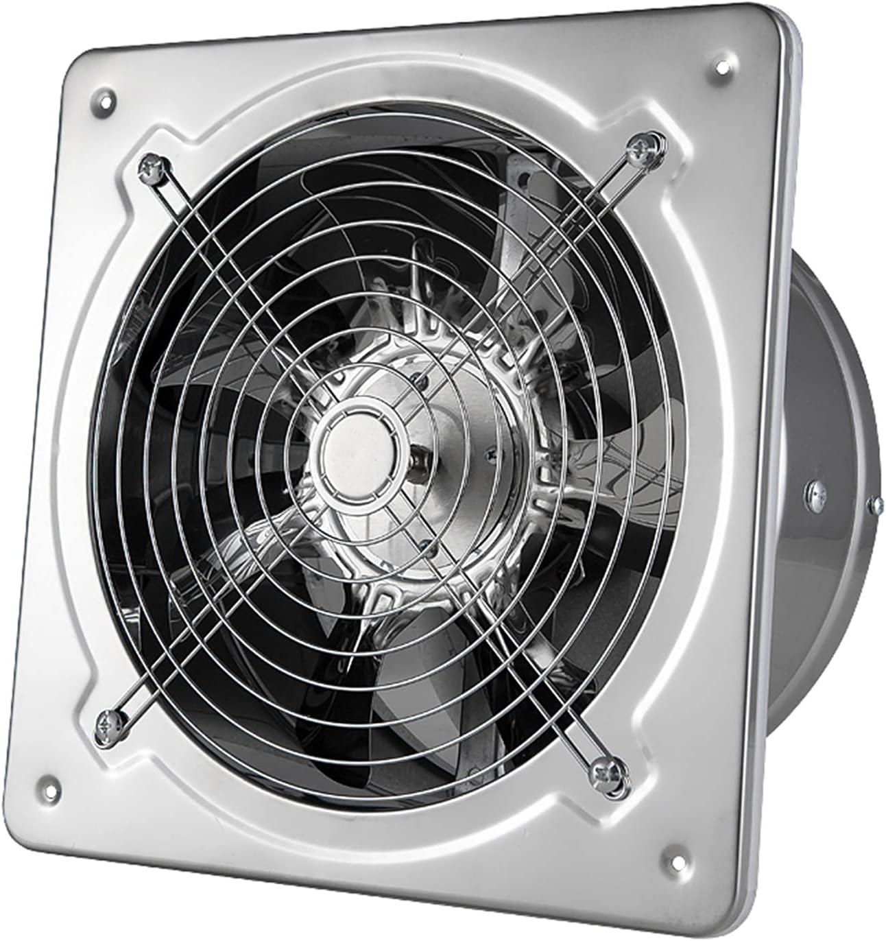 Extractor de ventilación industrial de metal, extractor de bajo ruido montado en la pared, ventilador con solapa antirretorno, con parrilla para la ventilación del garaje del restaurante del almacén