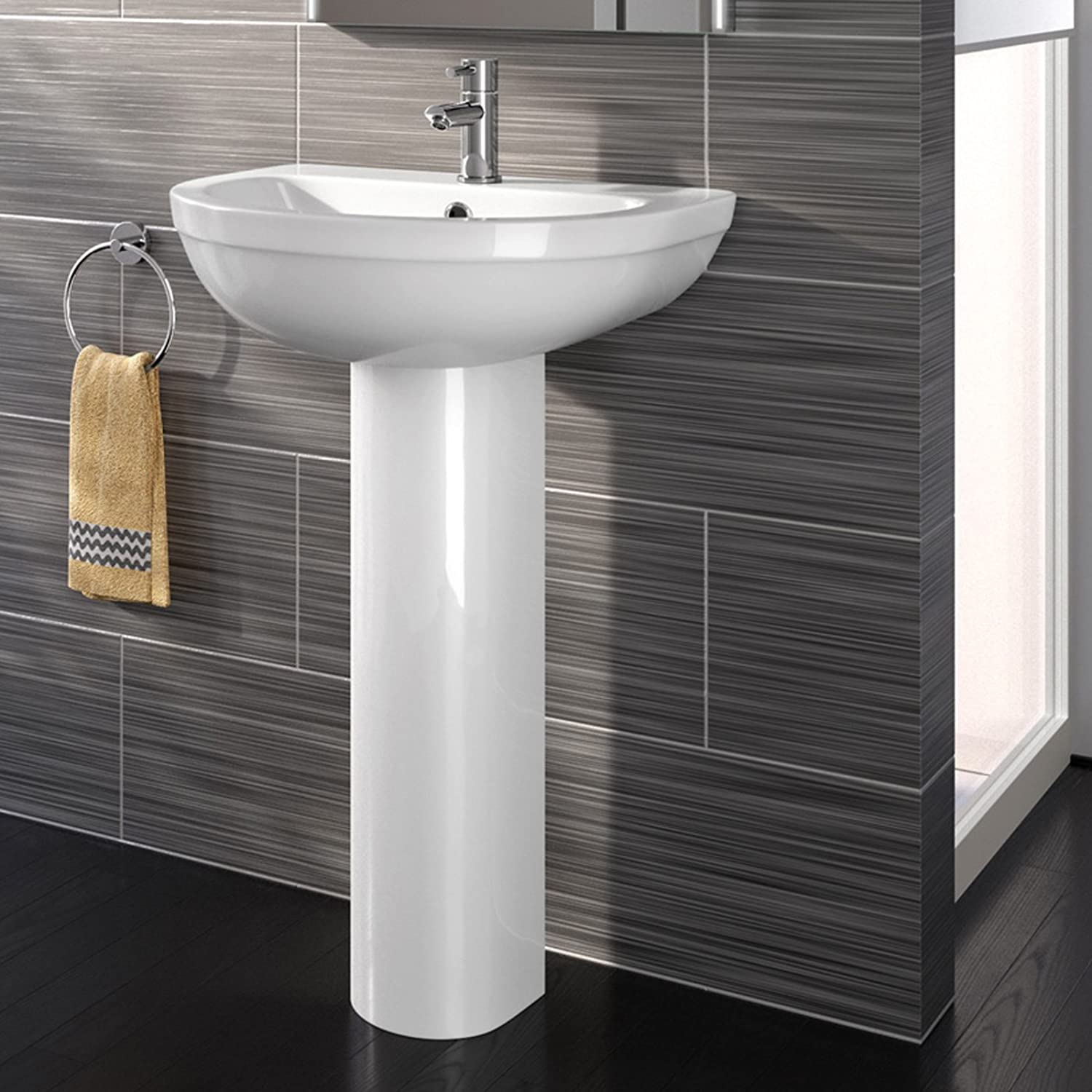 Modern White Ceramic Full Pedestal Basin Single Tap Hole Bathroom Sink