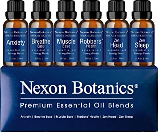 Aromatherapy Essential Oil Blends Set 10 ml x 6 - Perfect Gift for Men and Women - Made In the USA - Anxiet...
