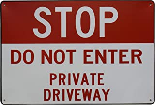 LASMINE Stop Do Not Enter Private Driveway Sign Drive Road Residence Signs No Turnaround Dock Hidden My Center Turn Around Please Block8X12Inch