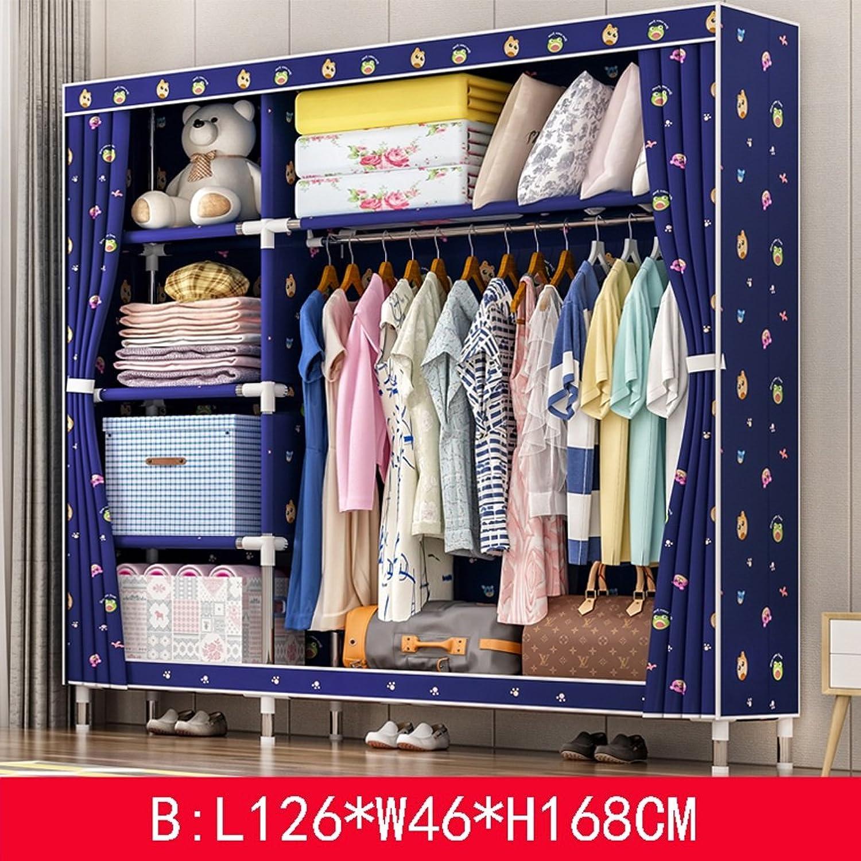Clothes Closet Wardrobe Wardrobe Portable Clothes Closet Cupboard Bedroom Furniture Storage 126  46  168 cm (color   B)
