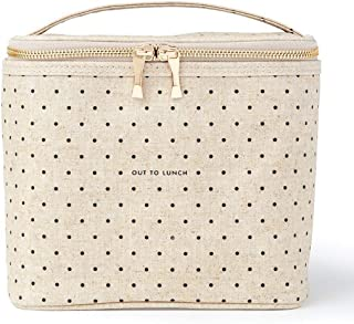 Kate Spade New York Lunch Bag Cooler Tote Durable Insulated Canvas with Leak Proof Liner Soft Side Bag with Handle Strap, Cream, Tiny Deco Dot