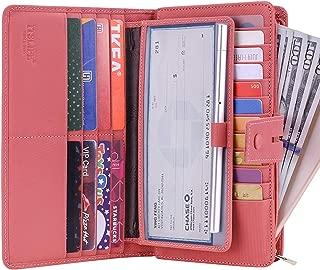 Women's Big Fat Rfid Leather wallet clutch organizer checkbook holder Stripe Pink