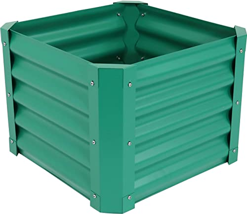 popular Sunnydaze Raised Metal Garden Bed Kit - Powder-Coated Steel 22-Inch online sale Square Planter for Plants, Flowers, Herbs, Fruits and outlet sale Vegetables - 16 Inches Deep - Green online