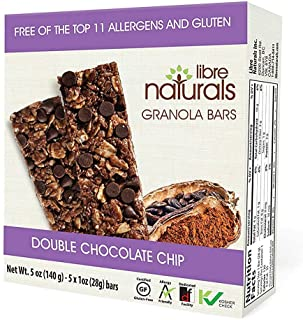 Libre Naturals Double Chocolate Chip Chewy Granola Bars - Vegan, Gluten-Free, Kosher, Nut-Free, Non-GMO, Dairy-Free, No Artificial Flavors & Allergy Friendly (1 oz bars, 30 bar pack)