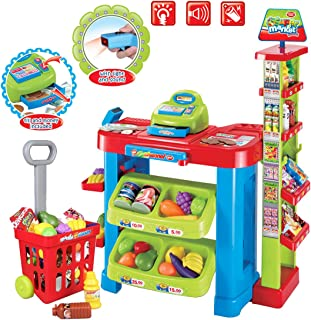 deAO Supermarket Kids Market Stall Toy Shop with Shopping Trolley and Play Food