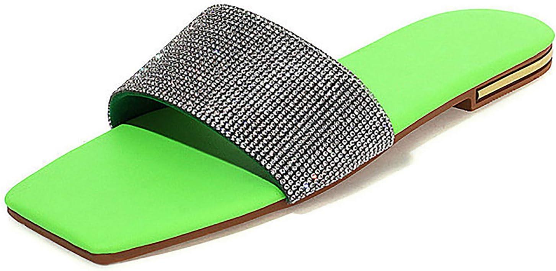 kekafu Womens Flat Sandals Square Toe Glitter Rhinestone Slides Comfort Beach Shoes Summer