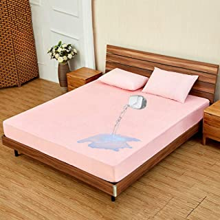 NKns Solid Color Waterproof Bed Bamboo Fiber Terry Cloth Bed Cover Non-Slip Mattress Cover Pink Baby Bed Cover