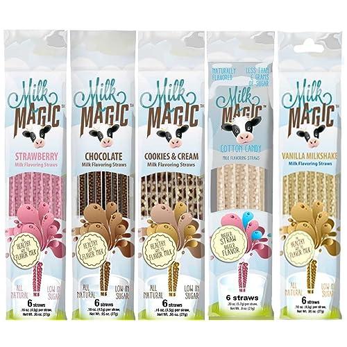 Milk Magic Magic Milk Flavoring Straws 36 Straws Flavors: Vanilla Milkshake, Cookies and Cream