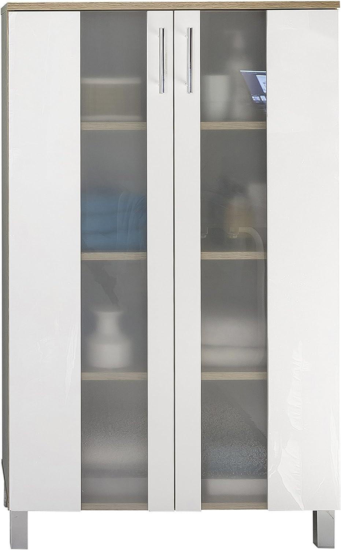 Trendteam Badezimmer Schrank Kommode Porto, 65 x 109 x 31 cm in Korpus Eiche Sgerau Hell Dekor, Front Wei mit viel Stauraum