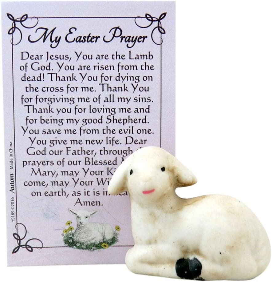 Miniature Porcelain Lamb Figurine with Holy Prayer Card, 1 1/2 Inch
