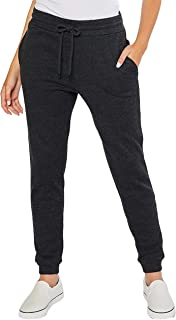 esstive Women's Ultra Soft Fleece Basic Midweight Casual Solid High Rise Jogger Pants