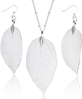 BOUTIQUELOVIN Filigree Long Leaf Pendant Dangle Necklace...