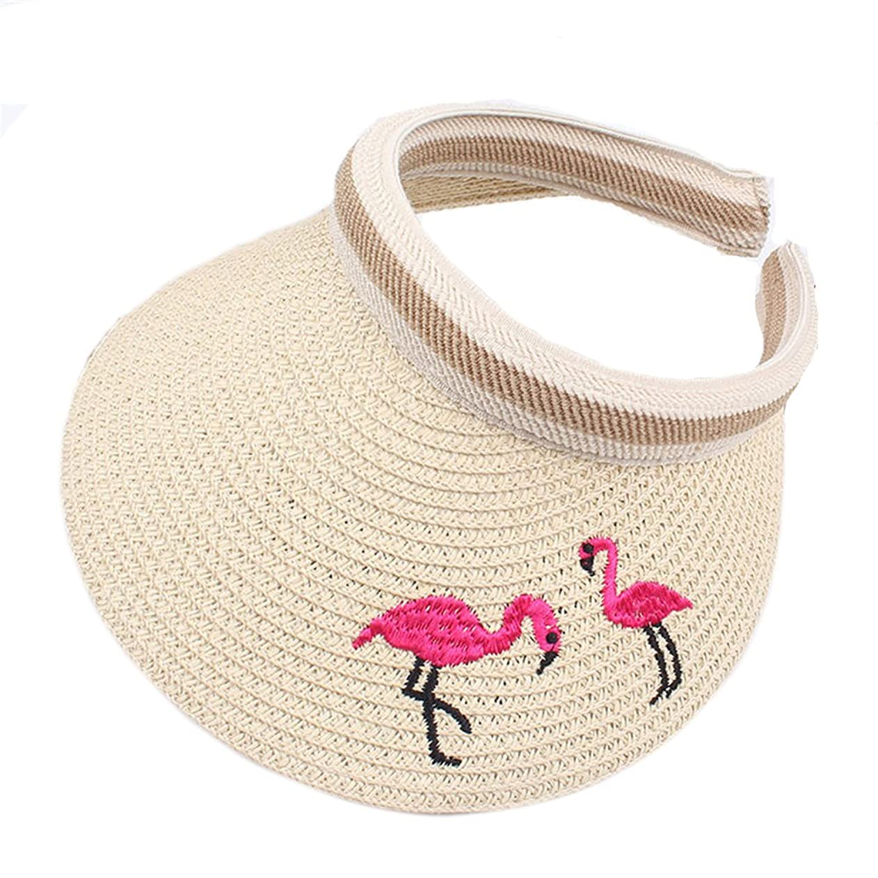 BIBITIME Straw Hat Flamingo Embroidered Sunhat for Kids 3-8 Years Open Top Cap ysizvlmkogo59764