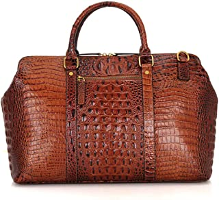 GLJJQMY New Crocodile Pattern Cowhide Bag Europe and The United States Atmospheric Texture Large Handbag for Men and Women for Luggage, 45.7 X 19 X 30.5cm Travel Bag