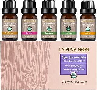 Lagunamoon Essential Oils Top 5 USDA Certified Organic Essential Oil Lavender Eucalyptus Cedarwood Orange Frankincense for Diffuser,Humidifier,Massage,Aromatherapy,Skin & Hair Care