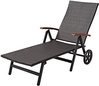 Tangkula Wicker Chaise Folding Back Adjustable Aluminum Rattan Lounger Recliner Chair W/Wheels (Brown)