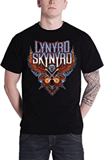 Lynyrd Skynyrd T Shirt Crossed Guitars Band Logo Official Mens Black