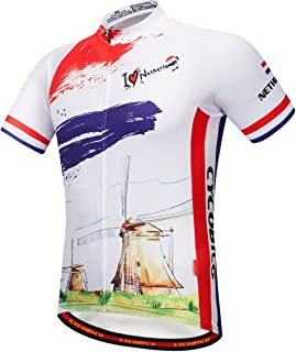 CYCOBYCO Men's Cycling Jersey Short Sleeve Italy,France,Spain,Reflective,Light,Breathable and Quick Drying