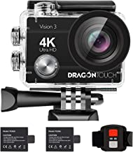 Dragon Touch 4K Action Camera 16MP Vision 3 Underwater Waterproof Camera 170° Wide Angle WiFi Sports Cam with Remote 2 Bat...