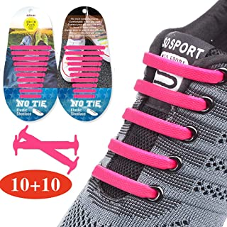 Upgraded No Tie Shoelaces Widened Elastic Shoelaces for Adults/Kids Tieless Shoe Laces Waterproof Rubber Shoelaces for Sneakers Boots Board Shoes