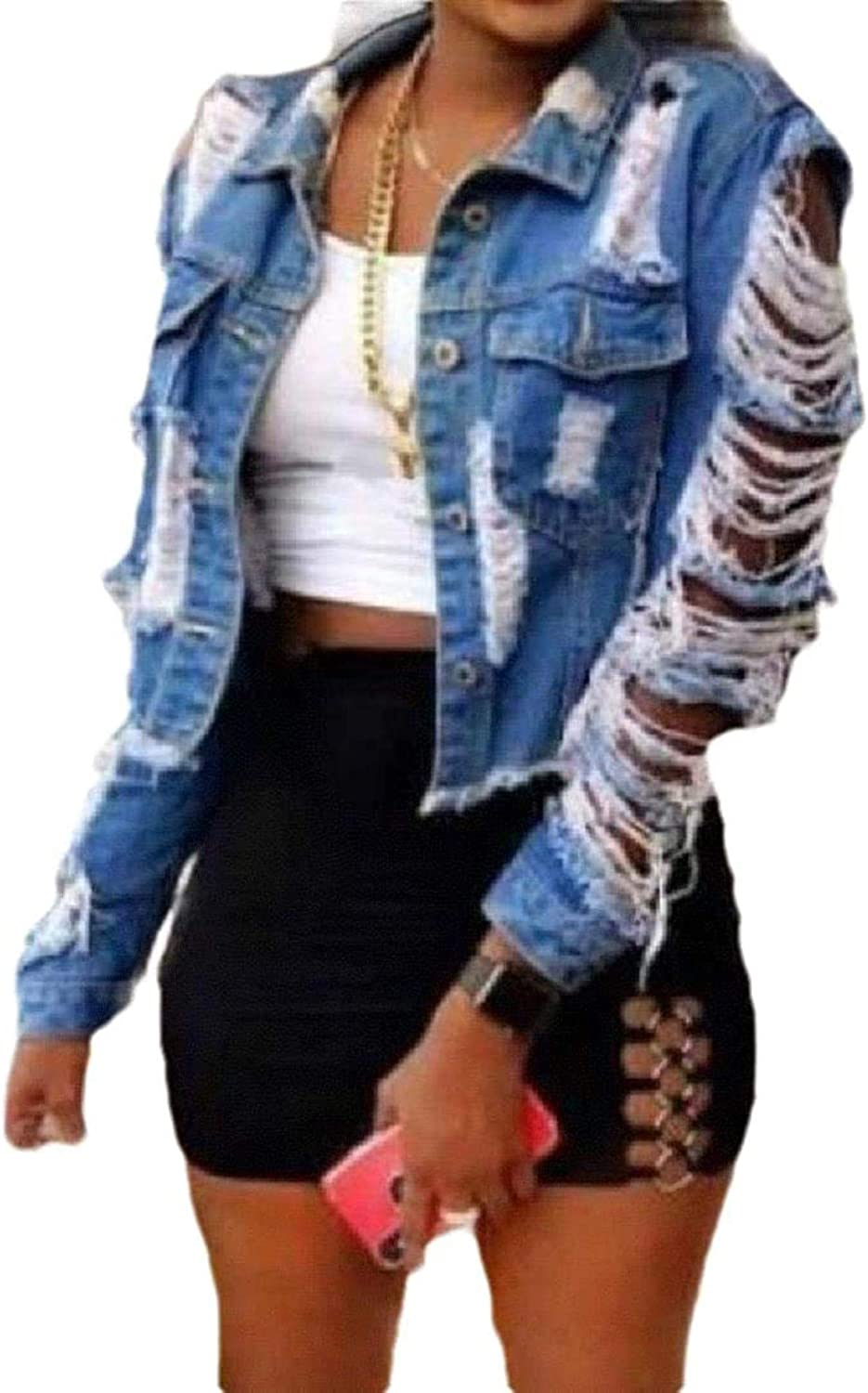 Women Pocket Ripped Hole Deluxe Long-Sleeve Casual Button Jean Jacket Limited time cheap sale