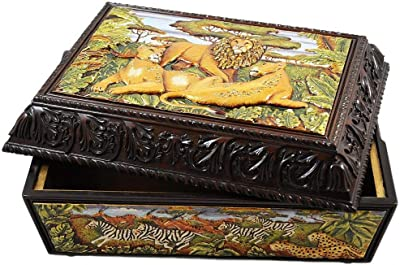 Amazon.com: Gran mapa del mundo Caja de madera hecha a mano ...