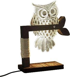 CITTATREND LED Lampe de Chevet Dimmable Veilleuse Table Lumière d'Ambiance Lignes Tridimensionnelles Stéréo Chouette Hibou...