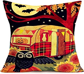 Asminifor Halloween Pillow Covers 18 x 18 Inch Cotton Linen Black Owl Bat with Vintage Pumpkin RV Camper Travel Trailer Pillowcase Sunflower Tree Decor Cushion Cover for Home Sofa Couch (H-Camper)