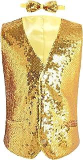 Kaerm Kids Boys V-Neck Sleeveless Waistcoat Gradient Color Shiny Sequins Party Prom Dress Vest with Bow Tie