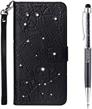 Lucifa Case for Nokia 6.1 / Nokia 6 2018,[Elephant Series] Bling Sparkly Diamonds Gems Premium PU Leather Magnetic Flip Cover with Card Holders Wallet Case Full Protection (Black)
