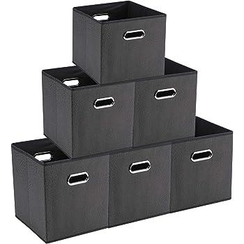 【SUMart】折り畳み 収納ボックス キューブボックス 金属取っ手 寝室 引き出し クローゼット おもちゃ 事務室 ギフト くすり 学生 【6つ入り】 (グレー)
