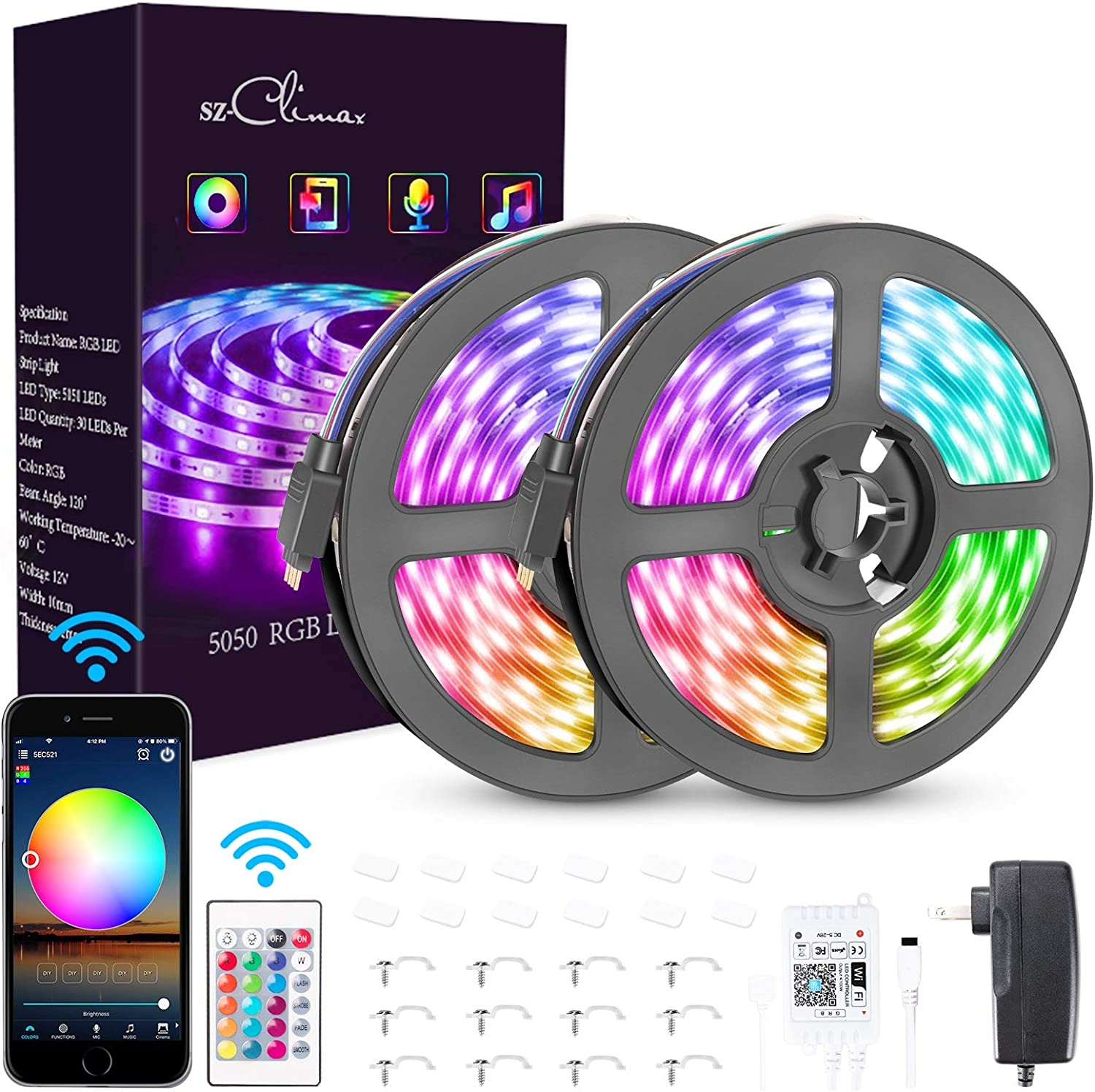 SZ-Climax Smart WiFi Colorful RGB LED Strip Lights Compatible with Alexa, Google Home Brighter 5050 LED, 16 Million Colors App Controlled Music Rope Light for Home, Party, for iOS Android(32.8FT/10M)