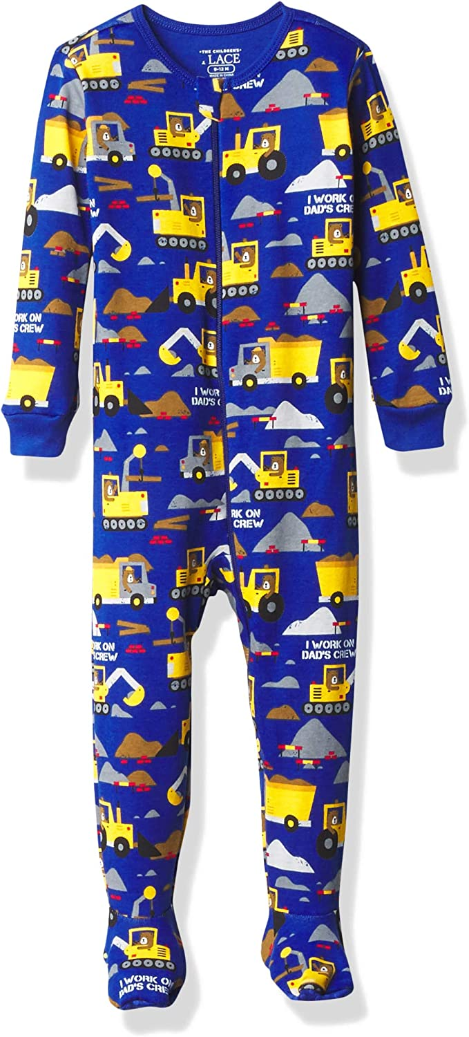 The Children's Place Boys' Baby and Toddler Construction Snug Fit Cotton One Piece Pajamas