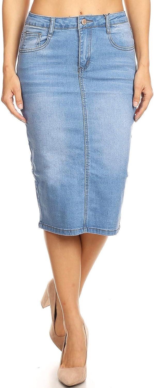 Womens Plus/Juniors Mid Waist Below Knee Length Denim Skirt in Pencil Silhouette