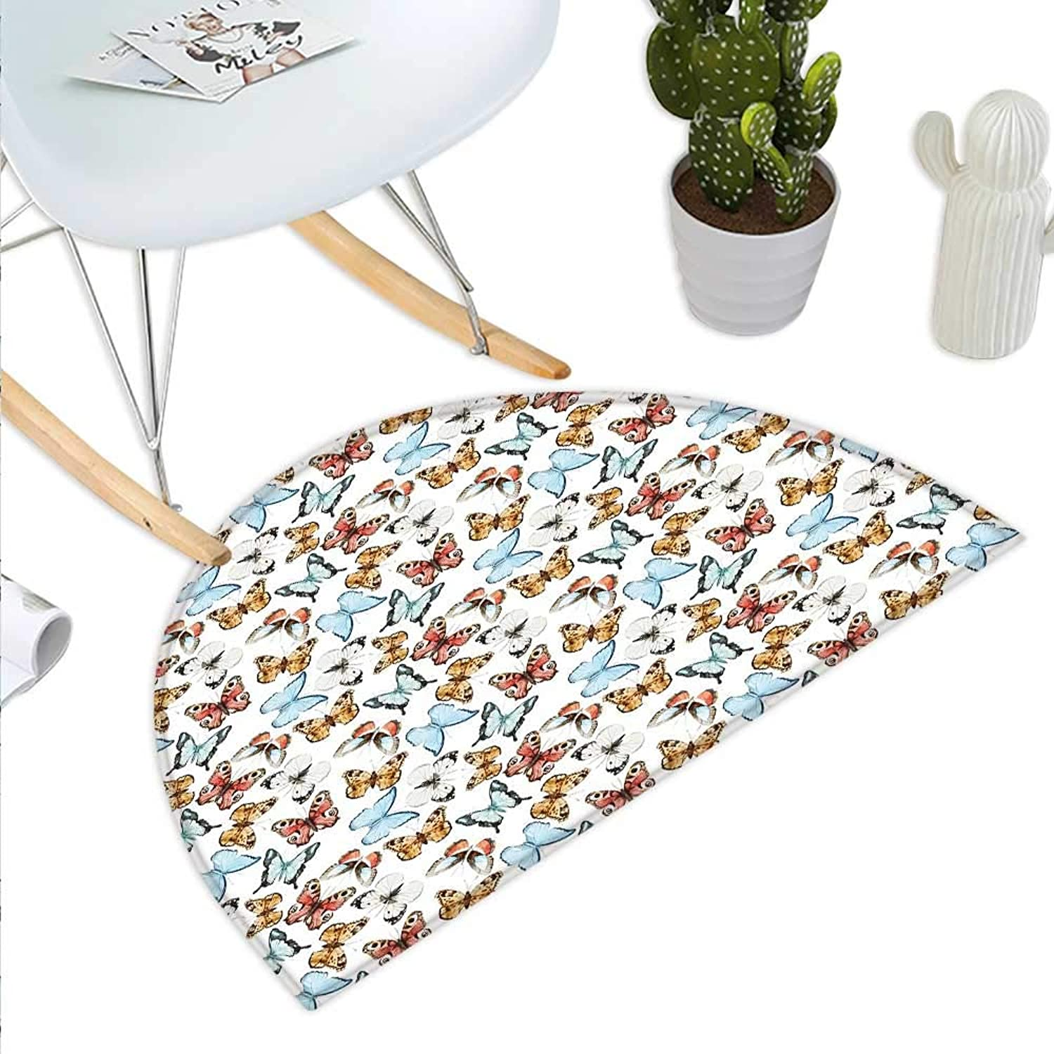 Butterfly Semicircle Doormat Types of Spring Season Animals Soft Fauna Pattern Abstract Nature Halfmoon doormats H 43.3  xD 64.9  Vermilion Pale bluee Brown