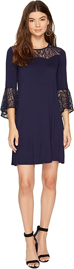 Drapey French Terry Dress with Lace Detail KS8K9888