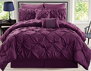 8 Piece Rochelle Pinched Pleat Plum Comforter Set Cal King