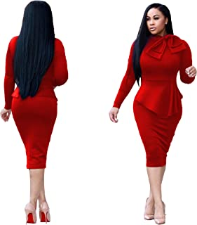 20ec203f67 VERWIN Double-Layered Tie Neck Plain Long Sleeve Warm Women's Bodycon Dress  Midi Dress for