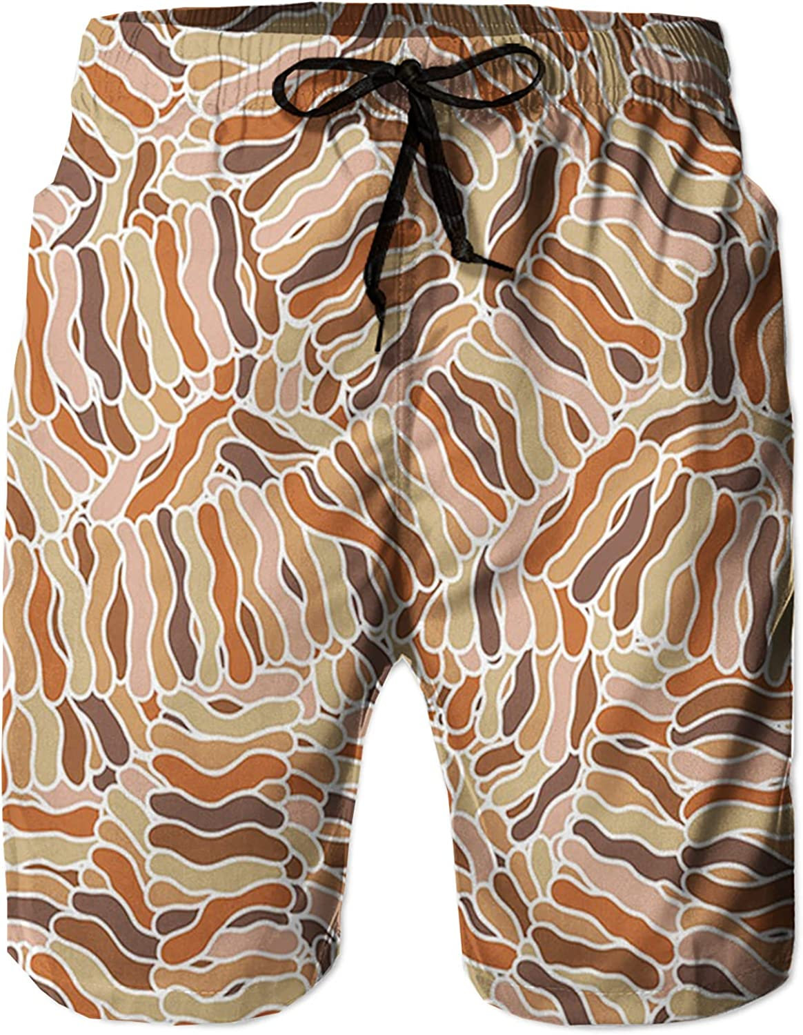 Men's Long Swim Trunks with Mesh Lining Beach Bathing Suits Board Shorts Swimwear with Pockets and No Mesh,Hand Drawn Waves Intersecting Tangled Structure L