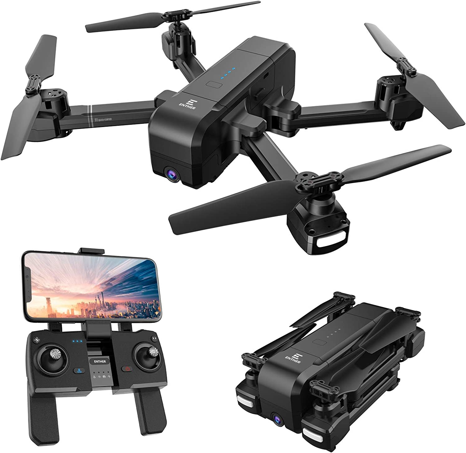 Enther GPS 5G FPV Drone with 1080P FHD Camera Live Video, Foldable Folding Selfie RC Quadcopter with Altitude Hold, GPS Return Home, Follow Me, and Bonus Battery for Beginners, Kids, and Adults