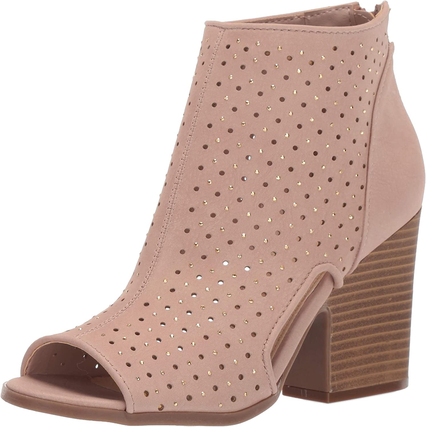 Rampage Womens Vionna Perforated Side Cutout Peep Toe Block Heel Ankle Bootie Ankle Boot