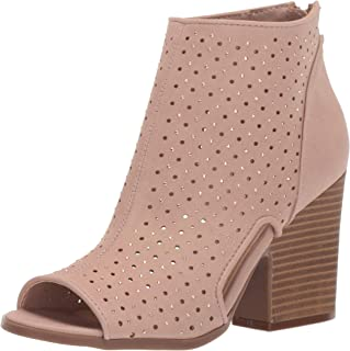 9f6549eab40a Rampage Women s Vionna Perforated Side Cutout Peep Toe Block Heel Ankle  Bootie Boot