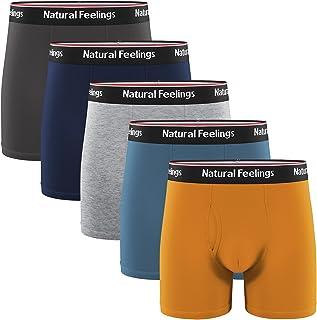 Natural Feelings Boxer Briefs Mens Underwear Men Pack Soft Cotton Open Fly Underwear