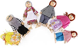 TINKSKY Happy Doll Family Wooden Joint Puppet Maumet Including Grandparents for Kids Fun Role Playing ,Birthday Gift for Your Lovely Son or Daughter, Pack of 6